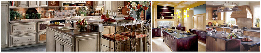 Decorative kitchen images. 1. Gray cabinetry with dark countertops 2. Yellow walls with dark cabinets and green countertops 3. Traditional kitchen with light brown cabinets and decorative hood